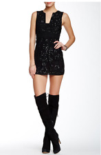 NEW Free People Snake Charmer Bodycon Black Sequin Mini size 8 retails $350 LBD