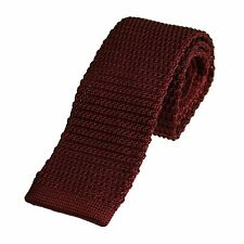 Men's Plain Burgundy Narrow Slim Skinny Silk Knitted Tie (N005)