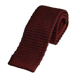 Men's Plain Burgundy Narrow Slim Skinny Silk Knitted Tie (N005)