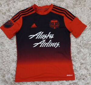 MLS Portland Timbers Alaska Airlines Adidas Soccer Girls Jersey Youth Sz Medium