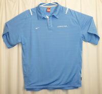Nike North Carolina Tar Heels Polo Golf Shirt Men's XL Blue Striped Lined