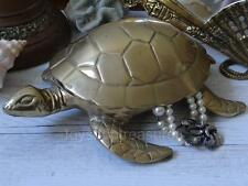 Stunning Large Vintage Brass Sea Turtle with Hinged Lid Paper Weight Jewellery