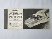 1962 Brunswick Owens Fiberglass Boat Sales Brochure Kenti York Dover Brisbane +