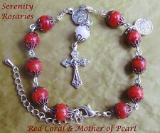 Coral and Mother of Pearl Handcrafted Rosary Bracelet