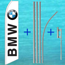 Bmw Wind Flutter Flag + Pole Mount Kit Tall Curved Sign Feather Swooper Banner