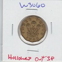 W3060 HOLLOWED OUT 1942 WWII THREE PENCE GOOD LUCK DONE FOR SIX PENCE  NEST?