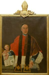 Important 18th Century Italian Religious Oil Painting Portrait Pope Clement XIII