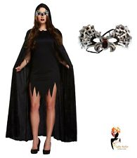 BLACK VAMPIRE BAT CAPE Ladies Men's Halloween Fancy Dress COSTUME Outfit Party