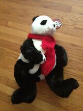 NWT VINTAGE 2001 WISH BLACK AND WHITE CHRISTMAS BEAR WITH ATTACHED BABY