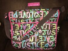 b3fb3982a1 JUSTICE PEACE LOVE MESSENGER BAG GRAFFITI PINK SHIMMER ACCENTS SUPER CUTE!