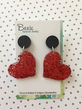 Statement Love Heart Dangle Earrings, Acrylic Red Glitter Resin, Surgical Stud