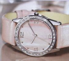 Damen Armbanduhr mit Echtlederarmband in Rosa mit Simili Steinen NEU/OVP