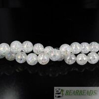 Natural Clear AB Crystal Quartz Gemstone Round Loose Beads 8mm 10mm 12mm 15.5""