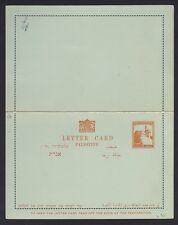 PALESTINE 1928 5 MILS LETTER CARD ORANGE ON BLUISH MINT GUM ON MGN INTACT RARE