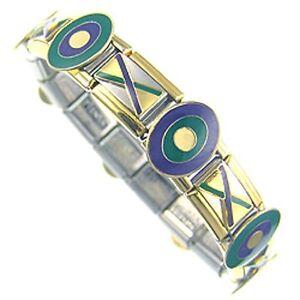 "Italian Charms Bracelet  Designer 18ct Gold and Enamel  "" The Entertainer """