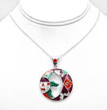 .950 Silver Sun Moon Gemstone Inlay Pendant Peru