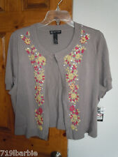 I.N.C Woman women's s/s top clasp embroider sequence sweater size 2X NWT $79.50