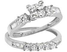 10K White Gold Invisible Set Princess Diamond Engagement Bridal Ring Set 0.90ct