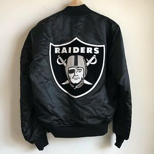 Vtg Deadstock Starter Los Angeles Raiders Black Big Patch Satin Jacket Medium M