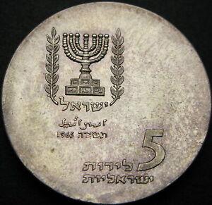 ISRAEL 5 Lirot 1965 - Silver - Knesset Building - aUNC - 2608 ¤