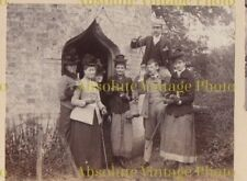 UNUSUAL PHOTO GROUP IN CHURCH DOORWAY WITH CANDLE & DRINKS OLD ALBUM PAGE C.1900