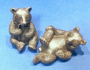 Hudson Pewter Noah's Ark Collection male & female PANDA bears retired BONUS