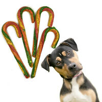 "Holiday Rawhide Candy Cane Dog Treats Bones 7"" Chews 4 pk NEW"