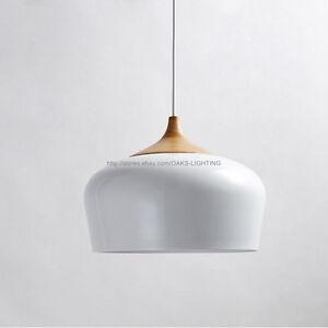 Modern Solid Wooden Pendant Light Aluminum Lampshade White Black Ceiling Lights