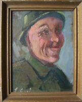 Ritratto Soldato ° Dipinto a Olio Firma Non Chiara Firmato°Telaio Uniforme Casco