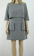 ASOS Double Layer A Line Dress in Geo Jacquard with 3/4 Sleeves UK SIZE 12