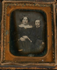 DAGUERREOTYPE 1/9 PLATE MOTHER AND YOUNG SON, FINELY TINTED.
