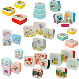 Set Of 3 Small Child Kids Boys Girl Adult Plastic Snack Lunch Sandwich Box