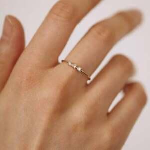 Triple Diamond Ring, Diamond Trio Wedding Band, Natural Diamond Wedding Ring