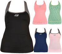 Womens Gym Vest Skechers Fitness Running Jogging Yoga Sleeveless Sports Tee Top