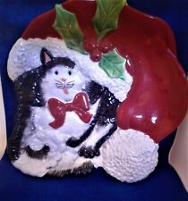 Fitz and Floyd Essentials Kitty Claus Christmas Dish
