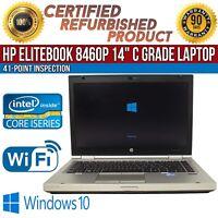 """C Grade HP EliteBook 8460p 14"""" Intel i5 8GB RAM 320GB HDD Win 10 WiFi USB Laptop"""