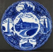 Flow Blue Views of Boston Historical Plate Staffordshire Trinity Church White