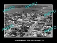 OLD POSTCARD SIZE PHOTO OF CHICKASHA OKLAHOMA AERIAL VIEW OF THE TOWN c1950