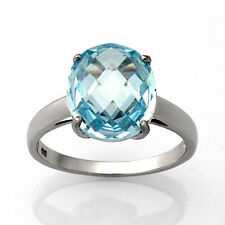 9ct White Gold Blue Cubic Zirconia Solitaire Ring.
