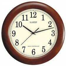 Wall Clock Atomic Analog Wood Radio Controlled Home Office Battery Reception Nib