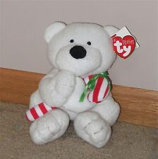 NWT Holiday Ty Pluffies white polar bear Candy Cane plush baby lovey stuffed toy