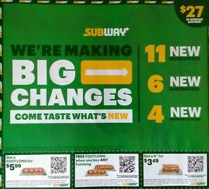 SUBWAY Restaurant Sandwich Coupons 9/3/21 Footlong Meal Cookie Drink $27 Value