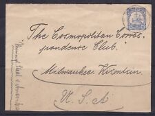 GNG19) German New Guinea 1910 clean small cover to USA  via Hong Kong