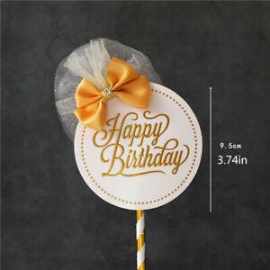 Happy Birthday Cake Topper Paper Letter Crown DIY Cake Baking Decor Baby Shower