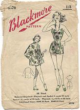Vintage 50's BLACKMORE PLAYSUIT SWIMSUIT BEACH COAT SWIMWEAR Sewing Pattern