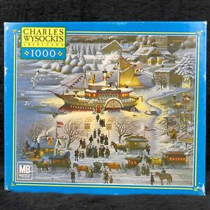 RARE Milton Bradley Charles Wysocki Toying with Dinner 1000pc Americana Puzzle