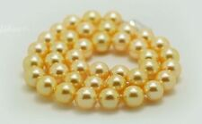 """HUGE 18""""10-11mm natural south sea Genuine gold round pearl necklace"""