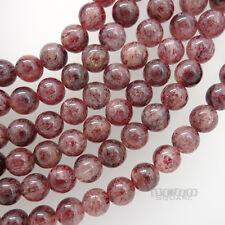 "14.5"" Natural Red Pink Strawberry Quartz Round Beads ap. 8mm #21165"