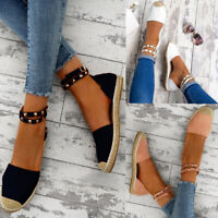 US Women's Summer Flat Sandals Ankle Strap Espadrilles Studded Shoes Size 5-9