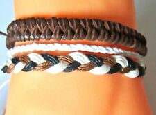 3 BRACELET BROWN CORD ROPE LEATHER ADJUSTABLE ANKLET WRISTBAND SURF mens womens